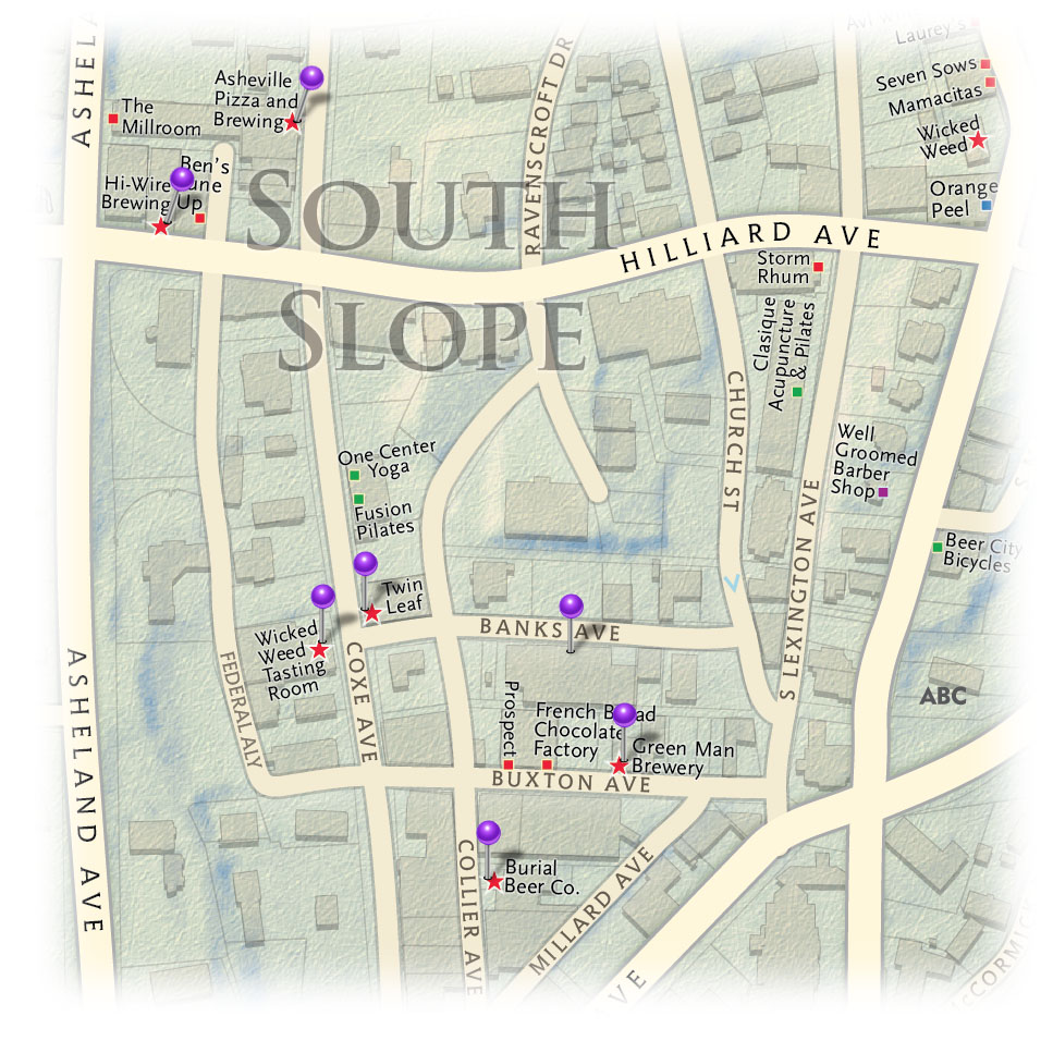 South Slope breweries locator map